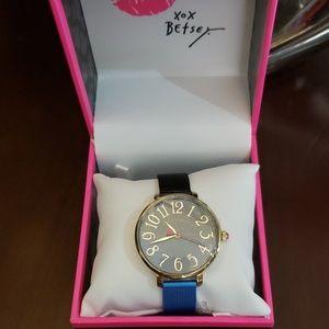 Betsey Johnson ombre meshtastic black/blue watch